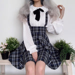 Preppy Style Plaid Suspender Skirt