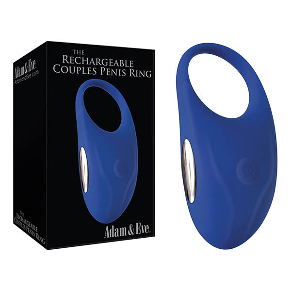 Adam & Eve Rechargeable Couples Penis Ring - Blue USB Rechargeable Cock Ring