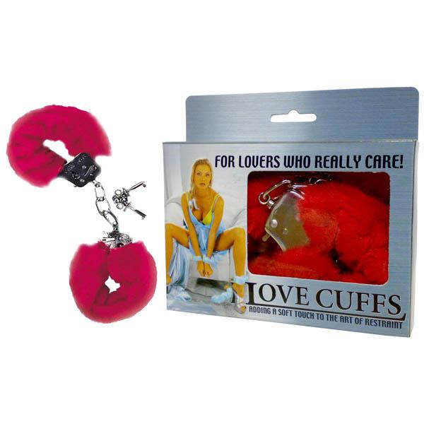 Love Cuffs - Red Fluffy Hand Cuffs