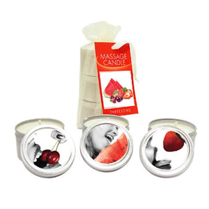 Edible Massage Candle Threesome - Cherry, Strawberry & Melon Flavoured Candles - 3 Pack