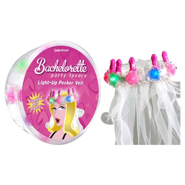 Bachelorette Party Favors Light-Up Pecker Veil - Hens Party Novelty