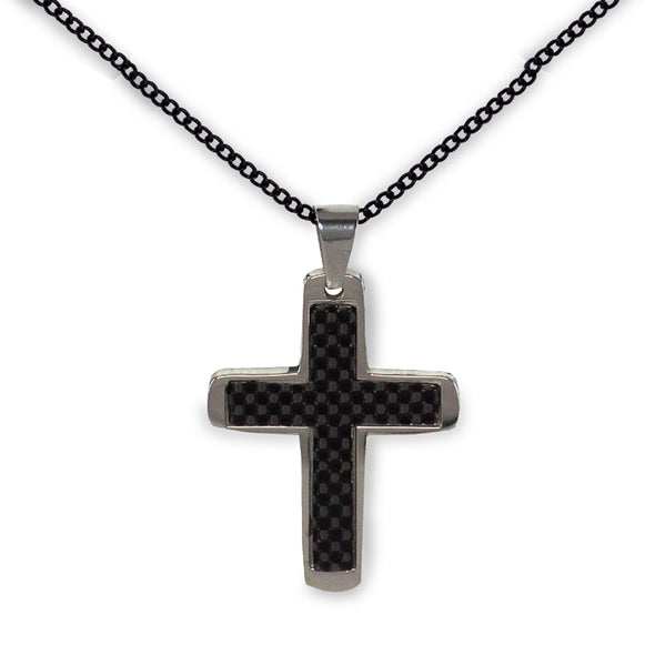 Carbon Fiber Cross Necklace