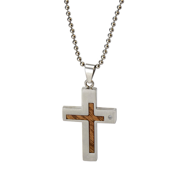 Wood Inlay Cross Necklace