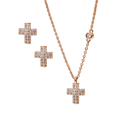 Rose Gold Cross necklace & Earring Set