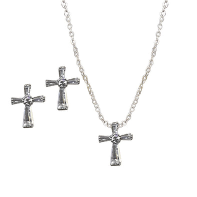 Silver Cross With Stone Necklace & Earring Set