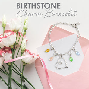 Birthstone Charm Bracelet with rope chain