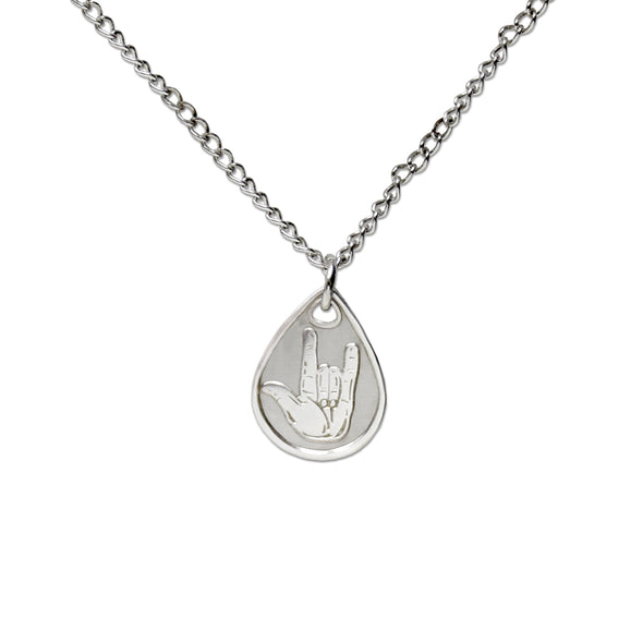 I Love You American Sign Language Silver Necklace