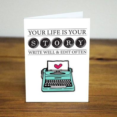 Your the author of your own story Typewriter Pin
