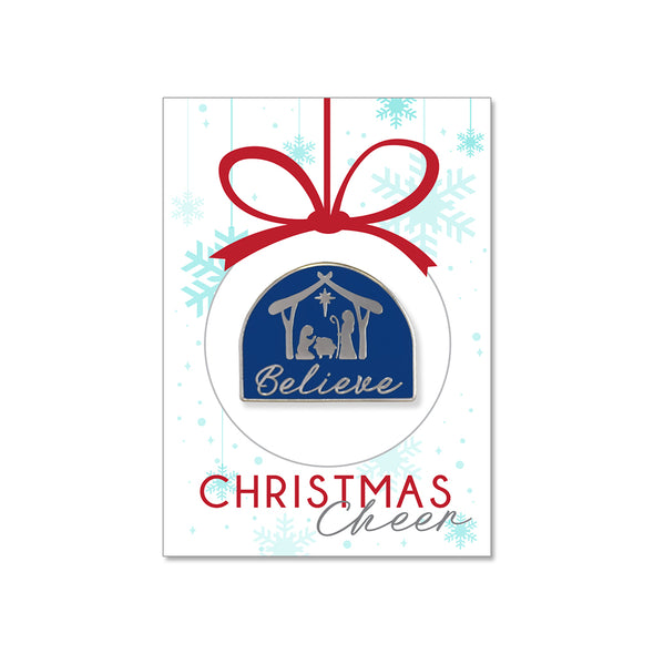 Believe Nativity Enamel Pin