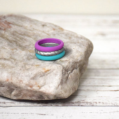Purple, Silver, Light Blue Stackable Silicone Ring Set