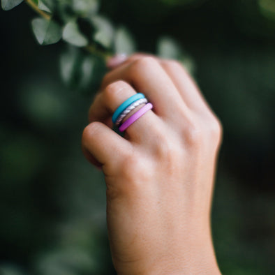 Purple, Silver, Light Blue Stack-able Ring