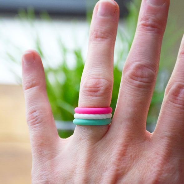 Teal, White, Hot Pink Stack-able Ring