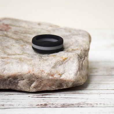 Black & Gray Stripe Ring