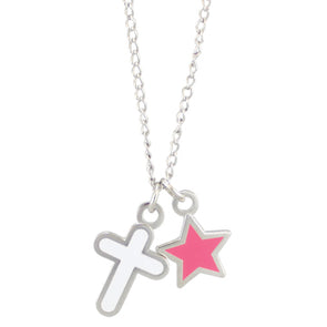 Pink Star Cross Necklace