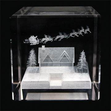 Up on the House Top Laser-engraved Crystal Cube