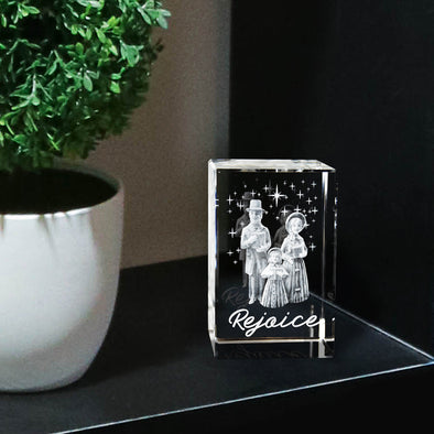 Rejoice Christmas Carolers Laser-engraved Crystal Cube
