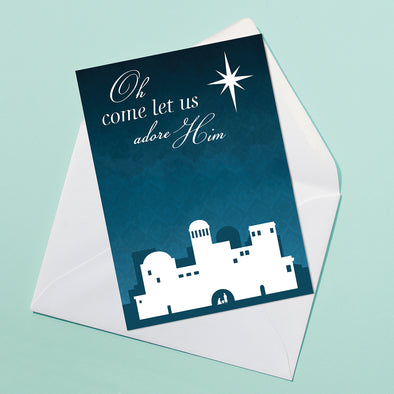Oh Come Let Us Adore Him Christmas Card