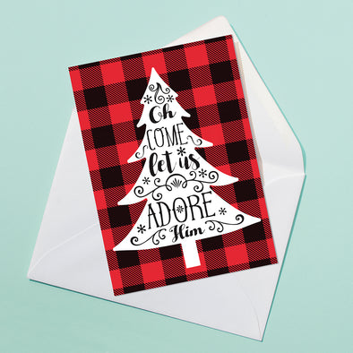 Adore Him Plaid Christmas Card