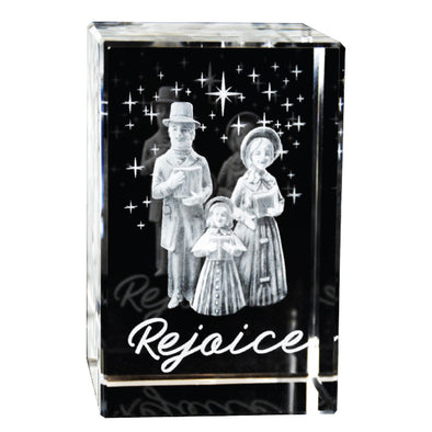 Christmas Carolers Crystal Cube