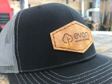 Load image into Gallery viewer, Leather Patch Trucker Style Hat - Black & Grey