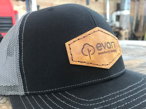 Leather Patch Trucker Style Hat - Black & Grey