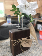 Load image into Gallery viewer, Black Walnut & Glass Tube Flower Vase