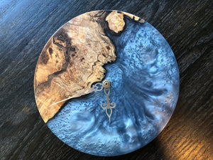 Spalted Maple Burl & Metallic Epoxy Wall Clock