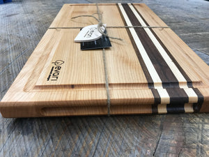 Cutting Board  - Maple, Black Walnut & Bolivian Coffeewood (Large)