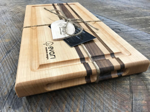 Cutting Board  - Maple, Black Walnut & Bolivian Coffeewood (Medium)
