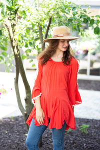 Cold Shoulder Godet Tunic