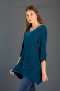 Textured Knit Tunic w/ Jewels