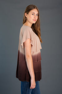 Ombre Ruffle Flutter Tunic