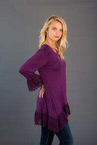 Crochet Trim Sleeve Bottom Tunic