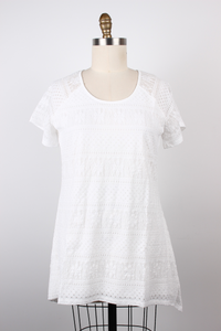 Stretch Lace Short Sleeve Tunic