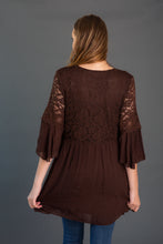 Load image into Gallery viewer, Lace Bodice Woven Tunic