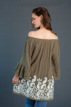 Load image into Gallery viewer, Embroidered Trim Ruffle Sleeve Tunic