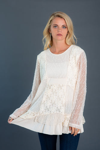 Mixed Media Lace Tunic