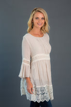 Load image into Gallery viewer, Crochet Trim Flare Sleeve Dress
