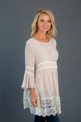 Crochet Trim Flare Sleeve Dress