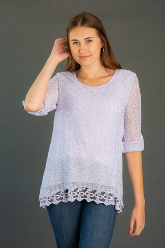 Popcorn Stitch Lace Tunic