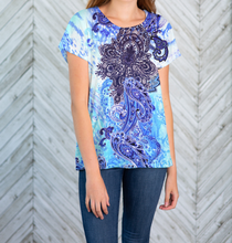 Load image into Gallery viewer, Indigo Paisley Crochet Back T-Shirt