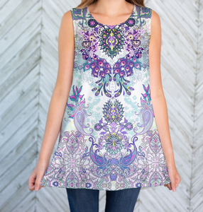 Paisley Peacock Scoop Neck Tank
