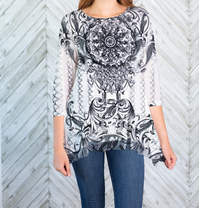 French Medallion Mesh Bottom Tunic