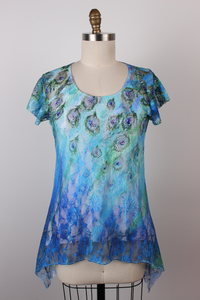 Peacock Print Flutter Sleeve Tunic