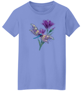 Painterly Dragonfly & Crocus Short Sleeve T-Shirt
