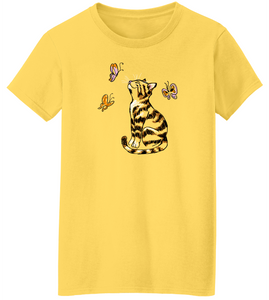 Scribble Kitty w/ Butterflies Short Sleeve T-Shirt