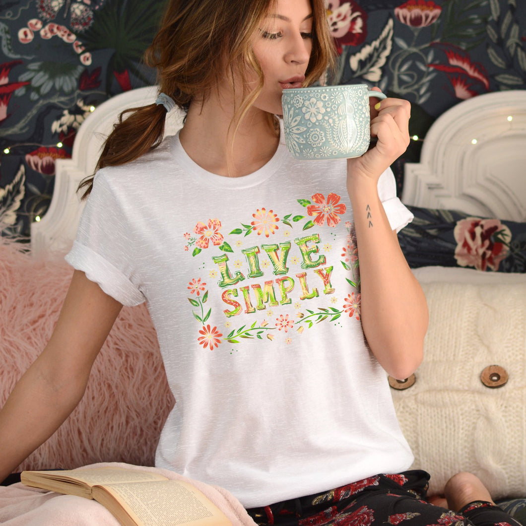 Live Simply Floral Junior Slub T-Shirt