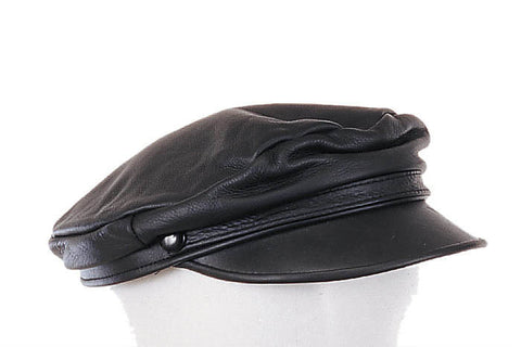 51c7d974d19 Black leather classic biker cap - The Leather Lily Boutique