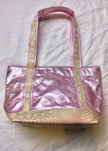 Bianca White Metallic Purse - Pink