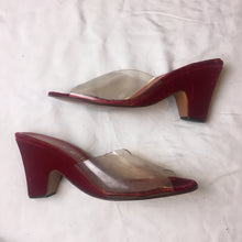 Load image into Gallery viewer, Vintage Andrew Geller Heels Velvet  Red/Clear